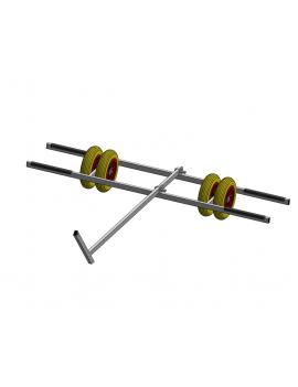 Chariot de mise à l'eau cata 14-16 pieds - 4 roues increvables Ø400mm